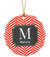 Red Chevron Personalized Christmas Ornament
