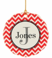 Red Chevron Personalized Christmas Tree Ornament