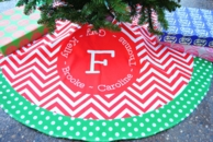 Red Chevron Personalized Family Christmas Tree Skirt