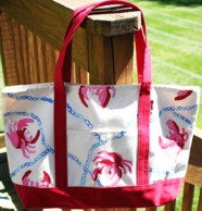 Red Crab & Rope Handpainted Francesca Joy Large Tote