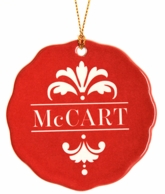 Red Fourish Personalized Name Christmas Ornament