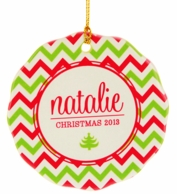 Red & Green Chevron Personalized Holiday Ornament