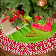 Red & Green Ikat Monogrammed Tree Skirt