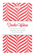 Red Herringbone Personalized Luggage Tags - SET OF 2