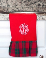 Red Holiday Plaid Monogrammed Hand Towel