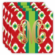 Red Ikat Metallic Monogram Holiday Coasters - SET OF 4