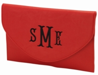 Red Monogram Envelope Clutch Purse