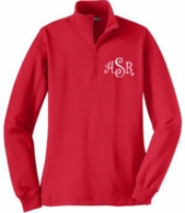 Red Monogrammed 1/4 Zip Sweatshirt