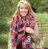 Red & Navy Tartan Plaid Monogrammed Blanket Scarf
