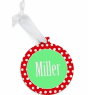 Red Polka Round Personalized Christmas Ornament