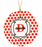 Red Polkadots Personalized Christmas Tree Ornament