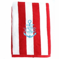 Red Stripes Personalized Towel