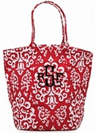 Red Vintage Glam Monogrammed  Large Bettie Tote
