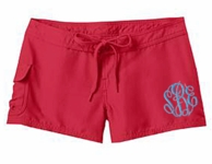 Red Women's Monogrammed Board Shorts
