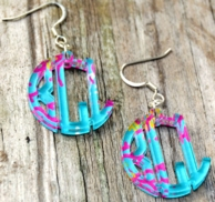 Reef Print Monogram Acrylic Earrings