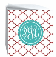 Reverse Clover Monogrammed Sticky Note Cube - CHOOSE YOUR COLORS!