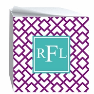 Reverse Squares Monogrammed Sticky Note Cube - DESIGN YOUR OWN!
