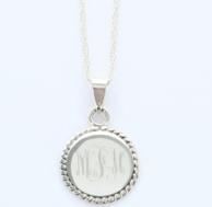 Rope Border Monogrammed Sterling Silver Necklace