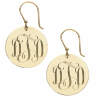 Round Engraved Monogram Gold French Wire Earrings
