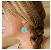 Round Monogram Acrylic Earrings