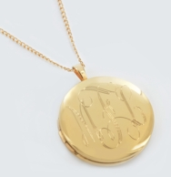 Round Monogrammed Gold Locket Necklace