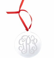 Round Monogrammed Mirrored Acrylic Ornament