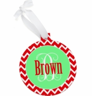 Round Red Chevron Personalized Christmas Ornament