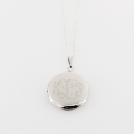 Round Silver Monogrammed Locket Necklace