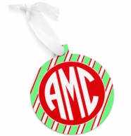 Round Stripes Monogrammed Christmas Ornament