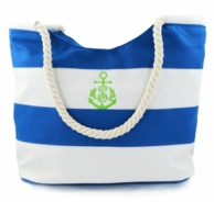 Royal & White Striped Monogrammed Beach Tote with Rope Handles