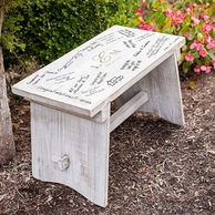 Rustic White Wooden Guestbook Bench with Monogram