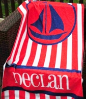 Sailboat Red Stripe Personalized Beach Towel