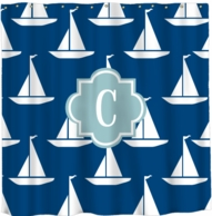 Sailboats Monogram Shower Curtain - DESIGN YOUR OWN!