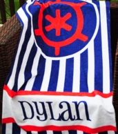 Sailor Wheel Navy Stripe Personalized Beach Towel