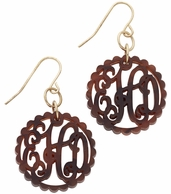 Scallop Circle Acrylic Monogram Earrings