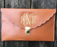 Scallop Edge Monogrammed Clutch Purse