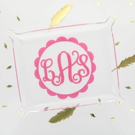 Scallop Monogram Clear Acrylic Tray
