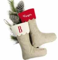 Scalloped Jute Personalized Christmas Stocking