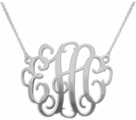 Scrolly Script Sterling Silver Monogram Necklace