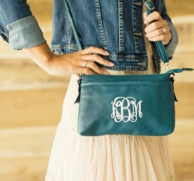 Sea Green Monogrammed Bree Crossbody Purse