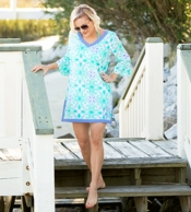Sea Tile Monogrammed Tunic Beach Cover Up