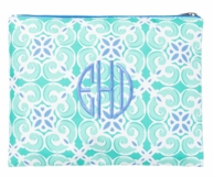 Sea Tile Monogrammed Zipper Pouch