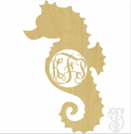 Seahorse Wood Wall Monogram Decor