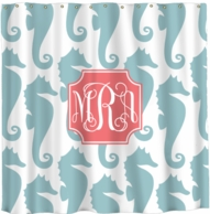 Seahorses Monogram Shower Curtain - DESIGN YOUR OWN!