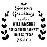 Seasons Greetings Personalized Holiday Address Stamper