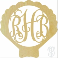 Shell Border Wood Wall Monogram