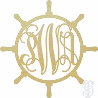 Ships Wheel Wood Wall Monogram - UNFINISHED
