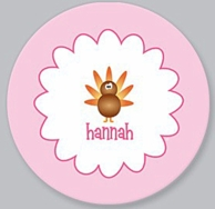 Silly Turkey Girl Personalized Thanksgiving Kids Plate / Bowl