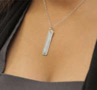Silver Engraved Rectangular NAME Necklace with Birthstone - SILVER OR GOLD