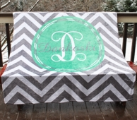 Silver Gray Chevron Initial Name Fleece Throw Blanket